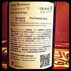 Il retro dell'etichetta del Friulano 2012 Borc Sandrigo di Denis Montanar